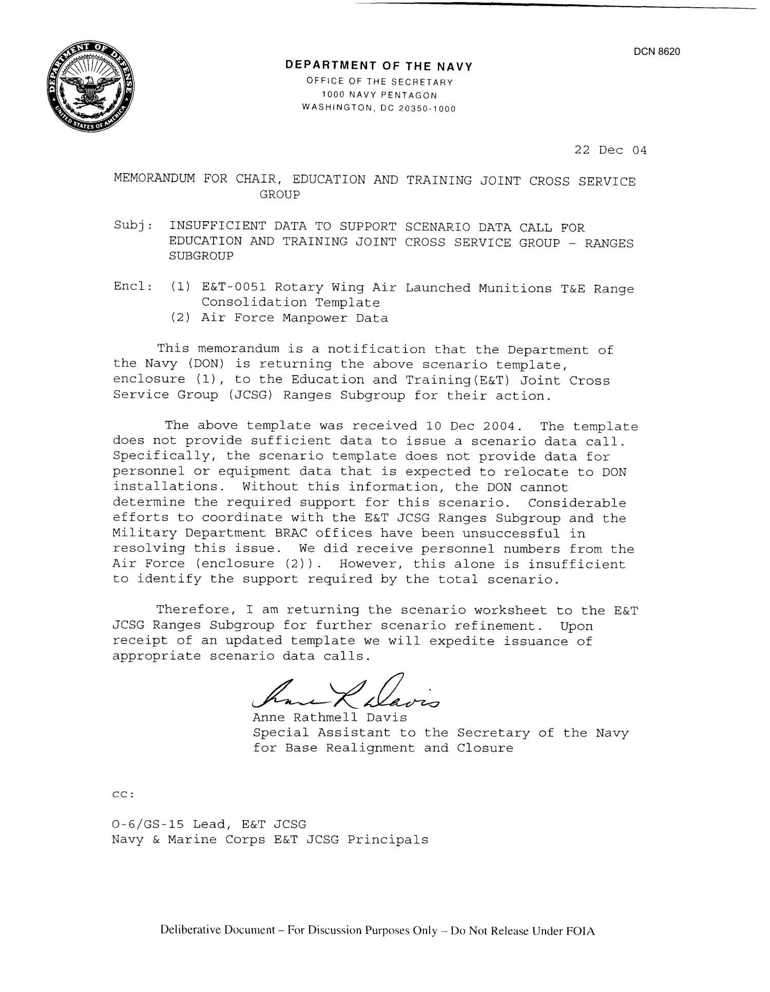 Memorandum for Record Template Department Of the Navy Memorandum for Chair Education