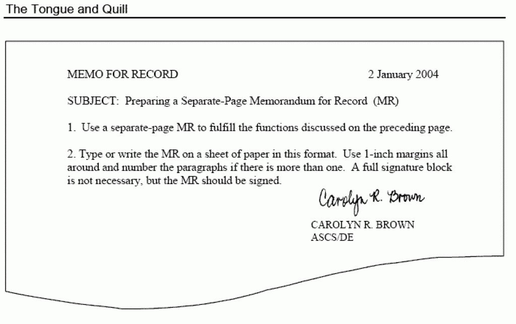 Memorandum for Record Template tongue and Quill Memorandum Template