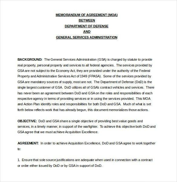 Memorandum Of Agreement Templates 13 Memorandum Of Agreement Templates – Word Pdf