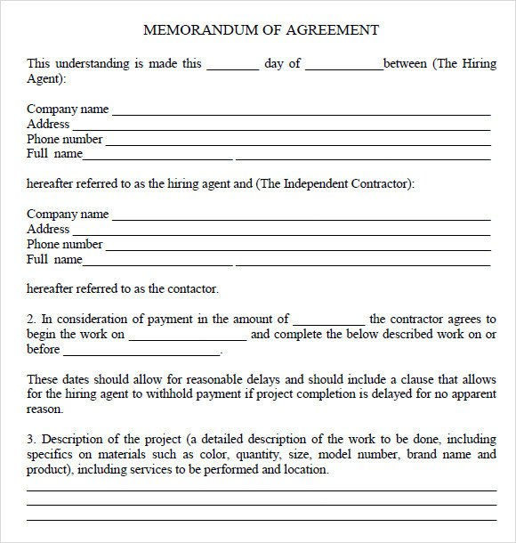 Memorandum Of Agreement Templates 13 Memorandum Of Agreements Pdf Word