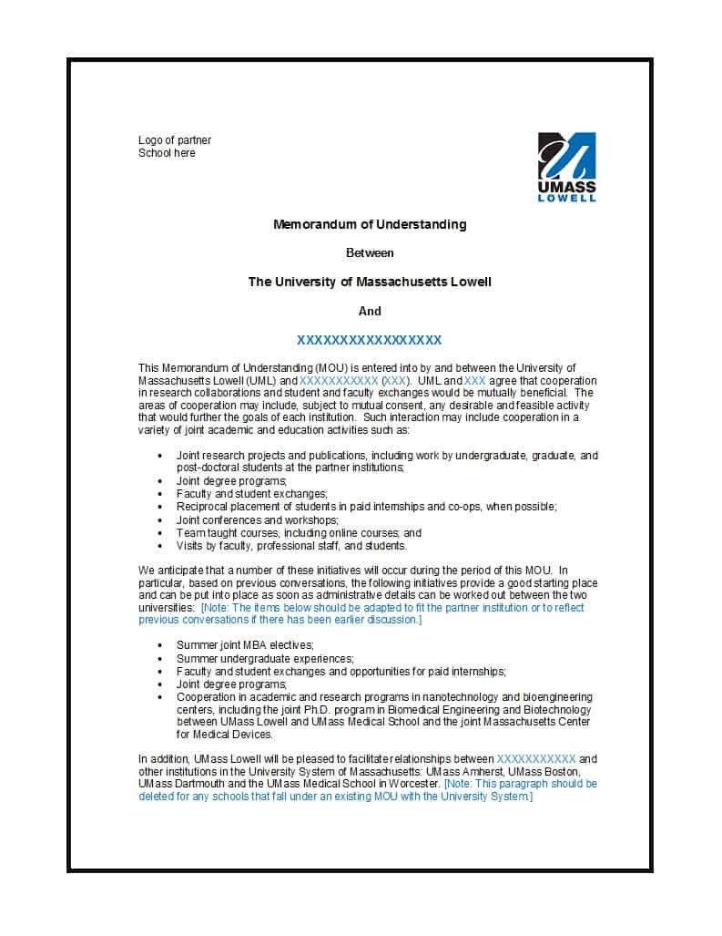 Memorandum Of Agreement Templates 50 Free Memorandum Of Understanding Templates [word]