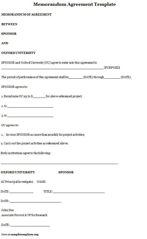 Memorandum Of Agreement Templates Agreement Template for Memorandum Sample Of Memorandum