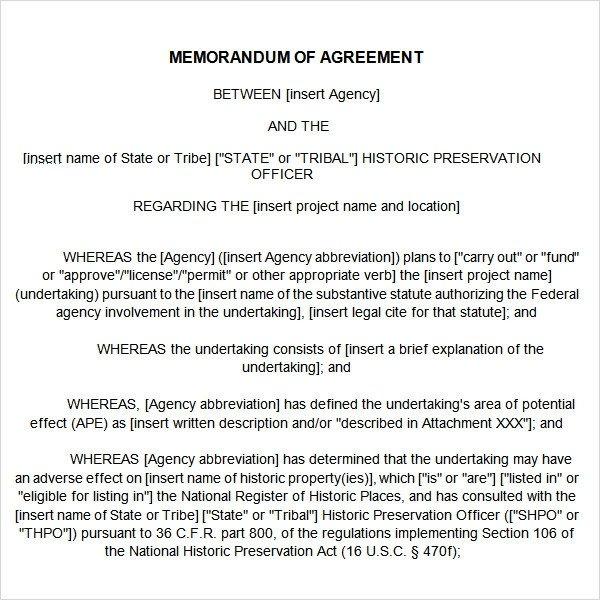 Memorandum Of Agreement Templates Memorandum Of Agreement 15 Free Pdf Doc Download