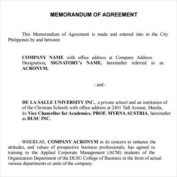 Memorandum Of Agreement Templates Memorandum Of Agreement 9 Free Pdf Doc Download