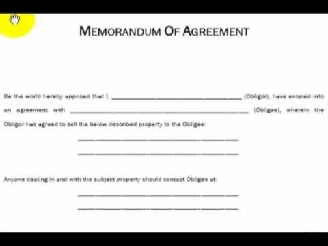 Memorandum Of Agreement Templates Memorandum Of Agreement Explained Real Estate Investing