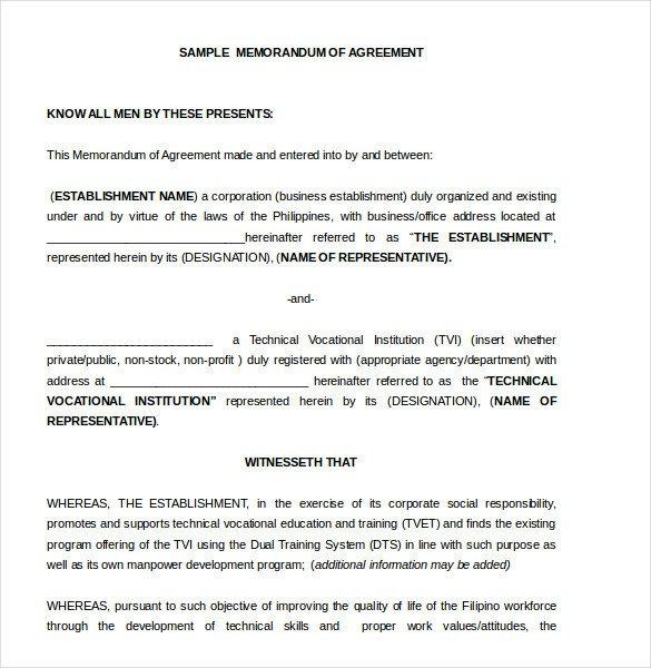 Memorandum Of Agreement Templates Memorandum Of Agreement Template – 10 Free Word Pdf