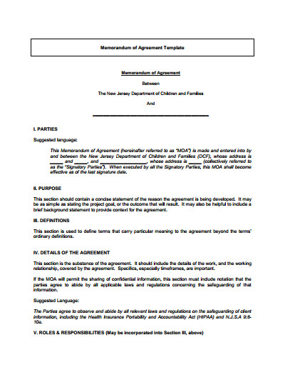 Memorandum Of Agreement Templates Memorandum Of Understanding Download Edit Fill & Print