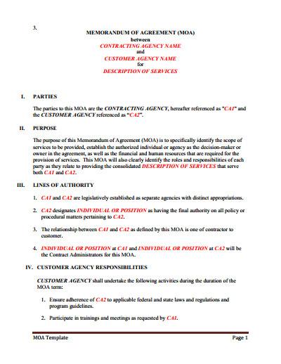 Memorandum Of Agreement Templates Memorandum Of Understanding Download Edit Fill & Print