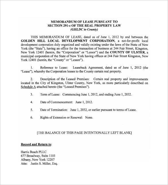 Memorandum Of Agreement Templates Sample Memorandum Of Lease Agreement 9 Free Documents