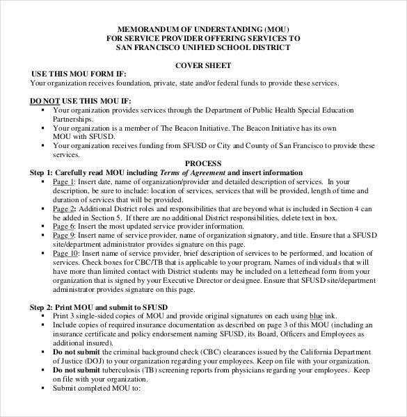 Memorandum Of Understanding Sample 41 Memorandum Of Understanding Templates Pdf Google