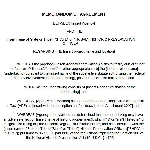 Memorandum Of Understanding Sample Memorandum Of Agreement 15 Free Pdf Doc Download