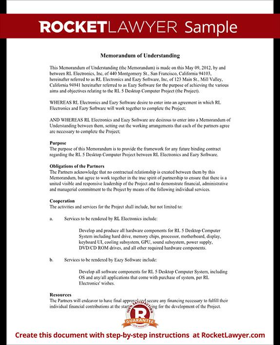 Memorandum Of Understanding Sample Memorandum Of Understanding form Mou Template with Sample