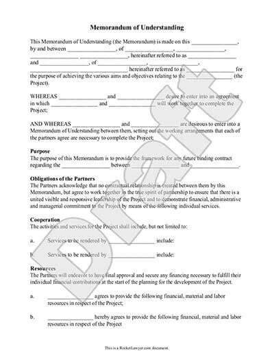 Memorandum Of Understanding Sample Memorandum Of Understanding Mou Template