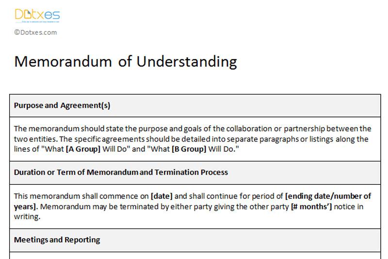 Memorandum Of Understanding Sample Memorandum Of Understanding Sample Template Dotxes
