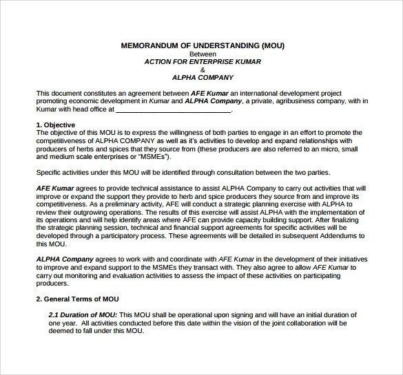 Memorandum Of Understanding Sample Memorandum Of Understanding Template 21 Download