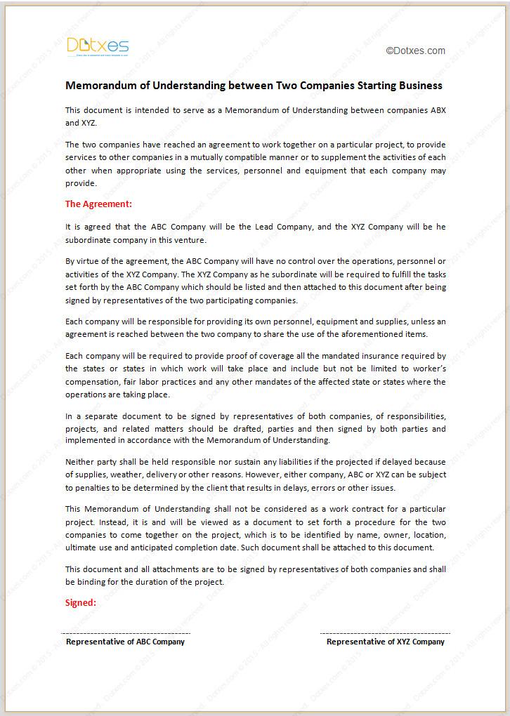 Memorandum Of Understanding Sample Memorandum Of Understanding Template Starting Business