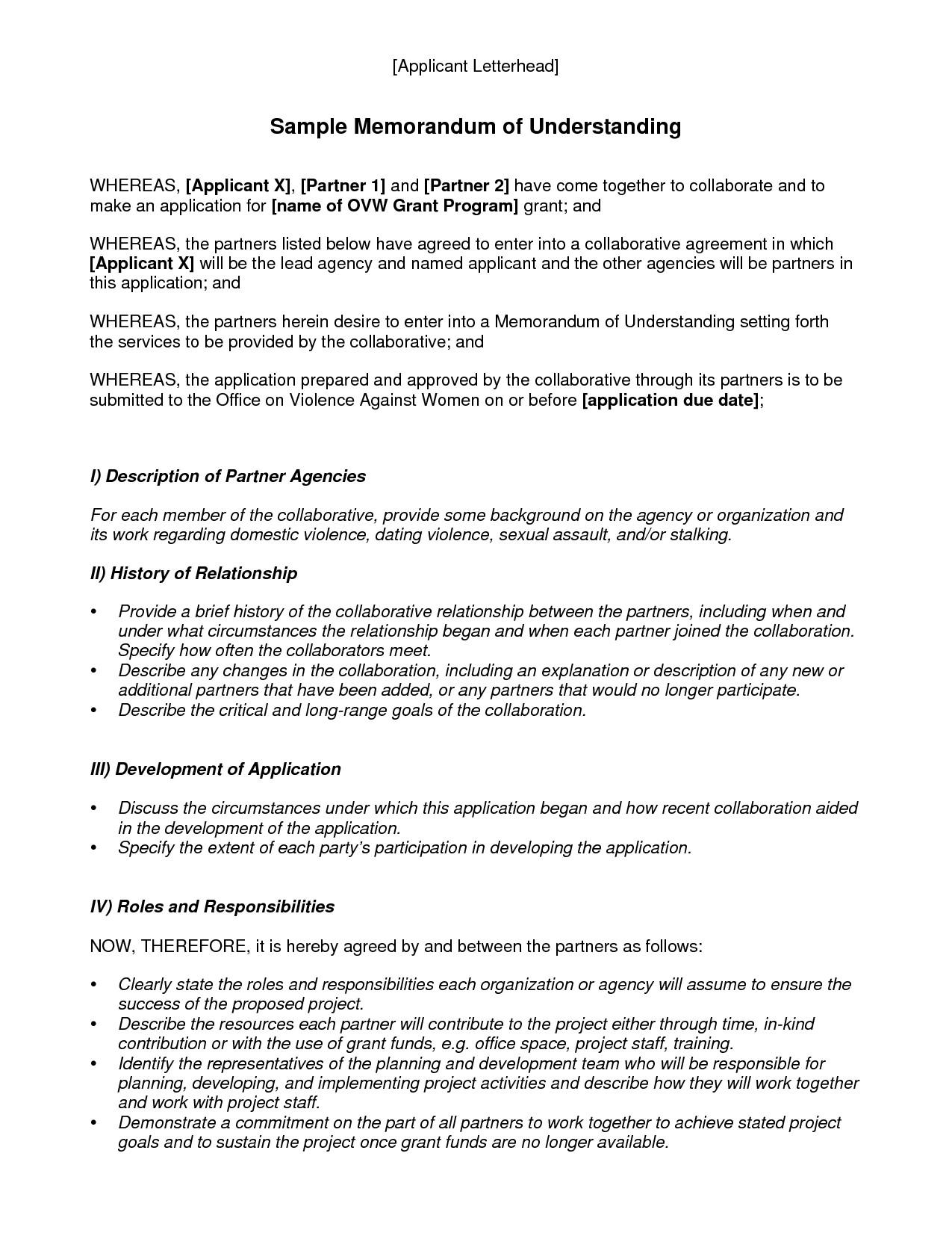 Memorandum Of Understanding Sample Memorandum Understanding Template