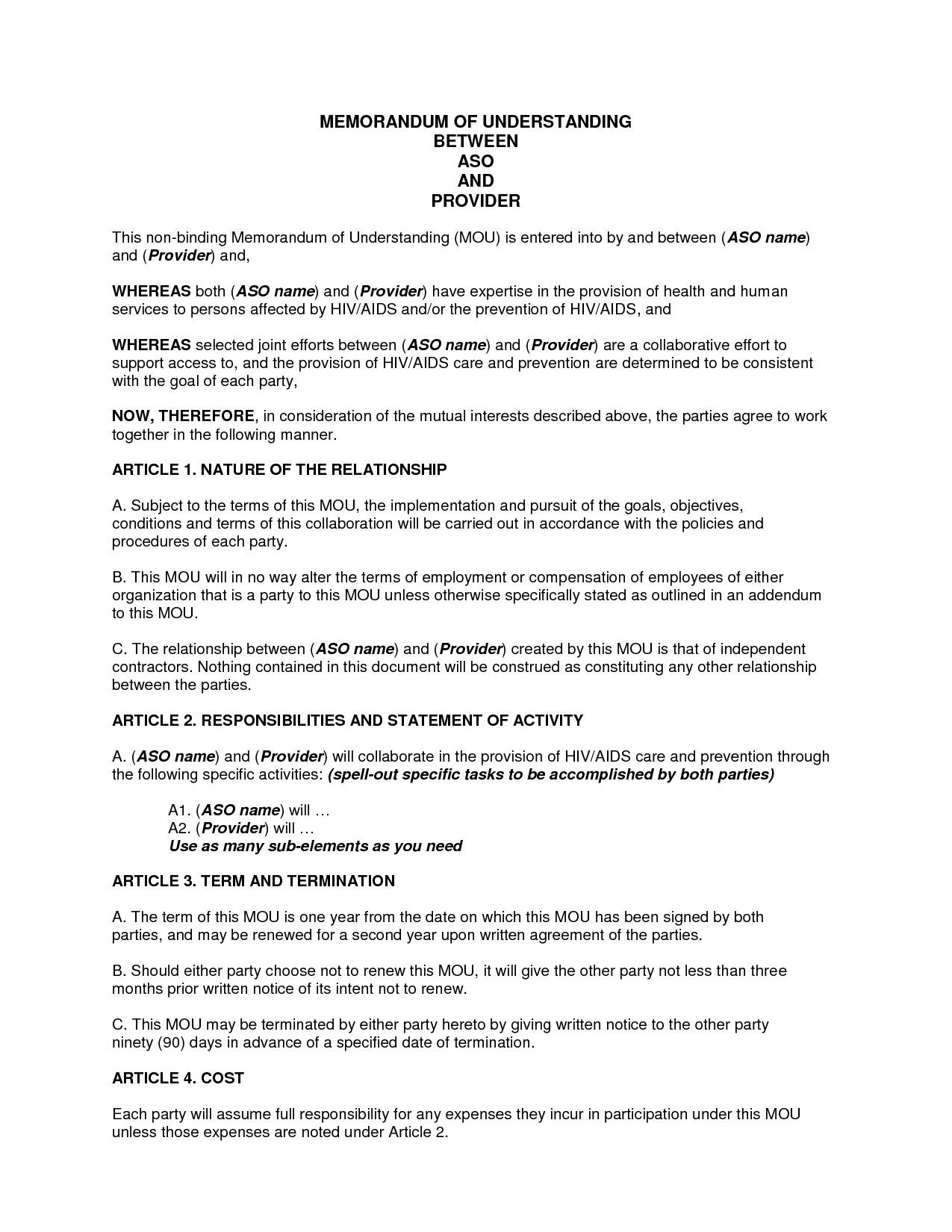 Memorandum Of Understanding Sample Sample Memorandum Of Understanding Business Partnership