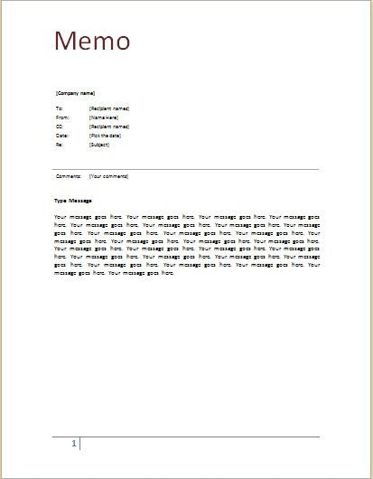 Memorandum Templates for Word Memo Template at Word Documents
