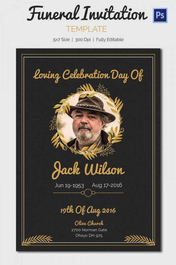 Memorial Card Template Free Download 15 Funeral Invitation Templates – Free Sample Example