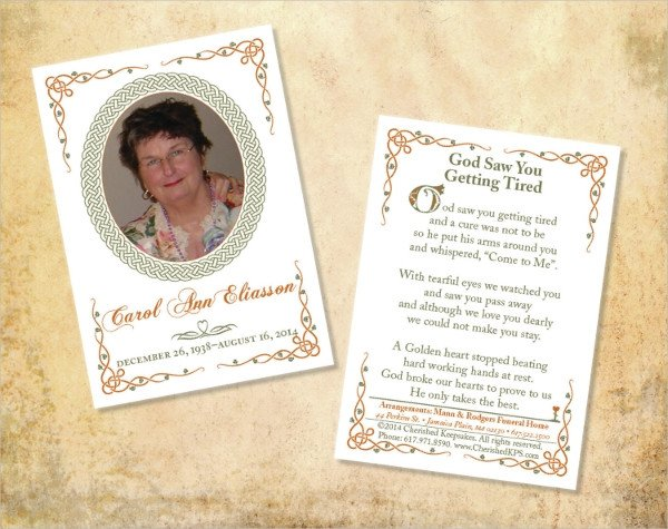 Memorial Card Template Free Download 17 Funeral Card Templates Psd Ai