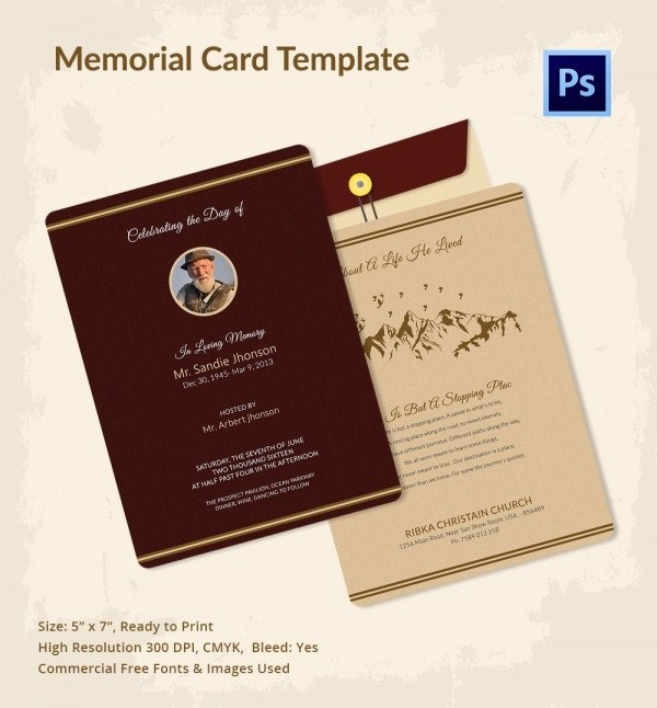 Memorial Card Template Free Download 21 Obituary Card Templates – Free Printable Word Excel