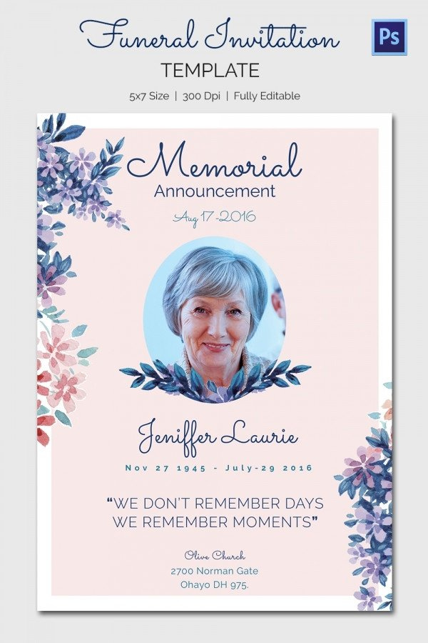 Memorial Card Template Free Download Funeral Invitation Template – 12 Free Psd Vector Eps Ai