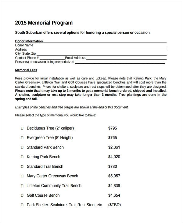 Memorial Services Program Template 11 Sample Memorial Program Template Free Sample