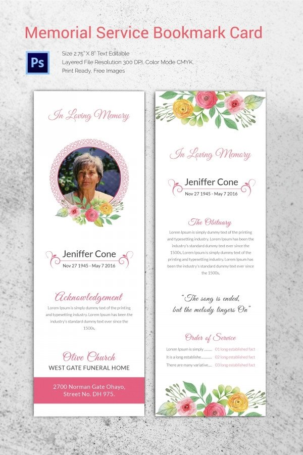 Memorial Services Program Template 20 Funeral Program Templates – Free Word Excel Pdf Psd