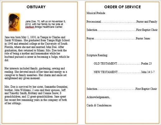 Memorial Services Program Template 73 Best Printable Funeral Program Templates Images On