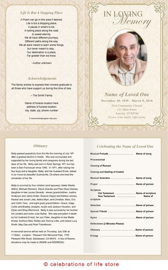 Memorial Services Program Template Alexandria Printable Funeral Program Template
