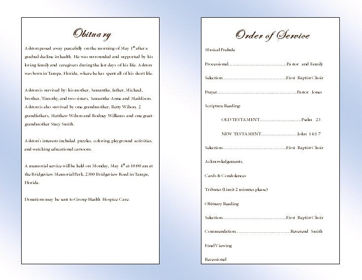 Memorial Services Program Template Clouds Youth Memorial Program Funeral Pamphlets
