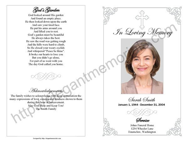 Memorial Services Program Template Memorial Service Program Sample
