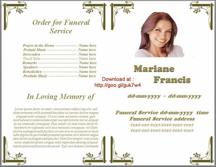 Memorial Services Program Template Pin by Do Homeworks On Funeral Program Templates for Ms