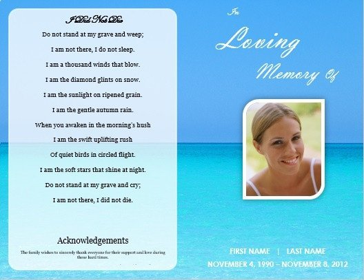Memorial Services Program Template Single Fold Beach Funeral Program Template for