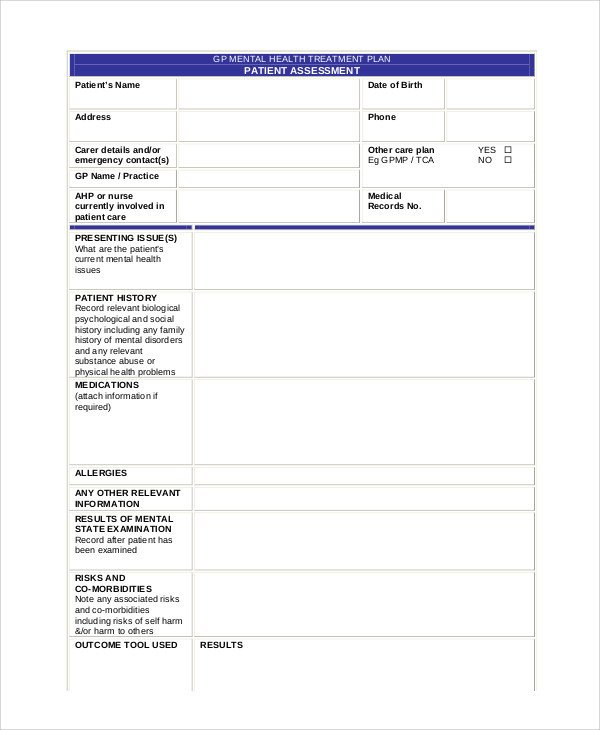 Mental Health Treatment Plan Template 11 Mental Health Care Plan Templates Pdf Doc