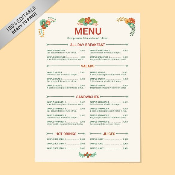 Menu Template Free Download 23 Free Menu Templates Pdf Doc Excel Psd