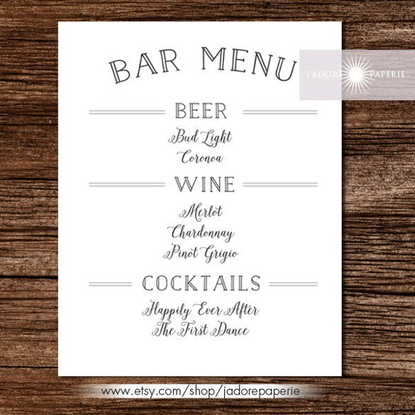 Menu Template Free Download 35 Bar Menu Templates Psd Eps Docs Pages