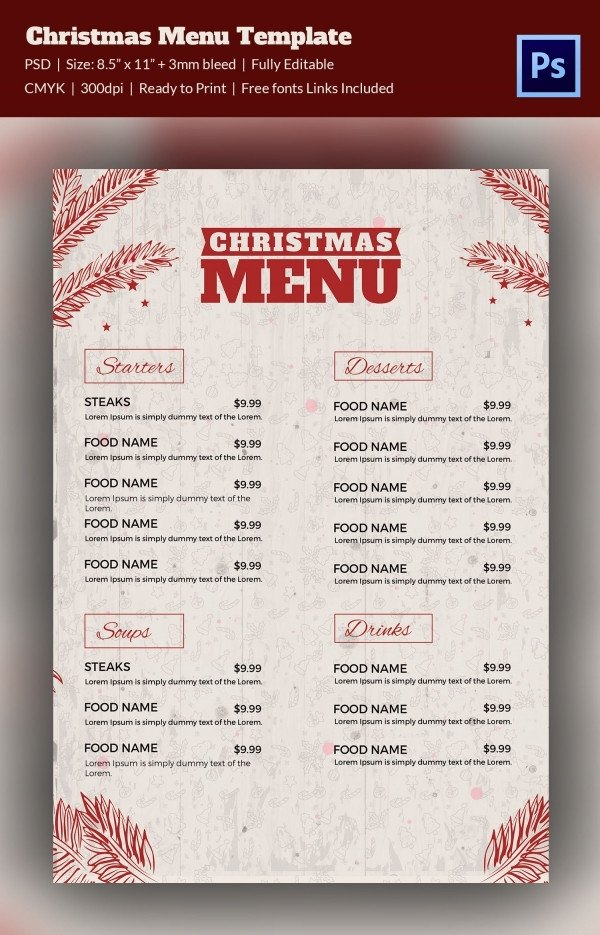 Menu Template Free Download 35 Christmas Menu Template Free Sample Example format