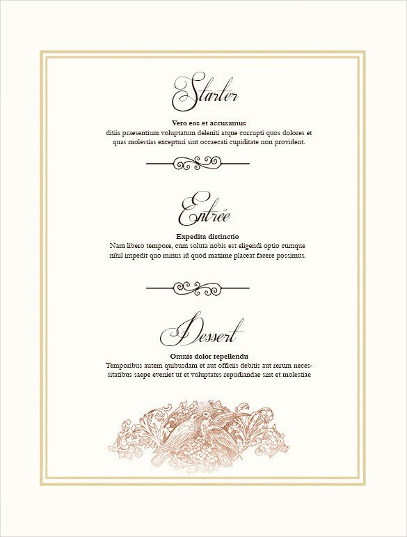 Menu Template Free Download 36 Wedding Menu Templates Ai Psd Google Docs Apple