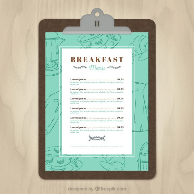 Menu Template Free Download Breakfast Menu Template Vector