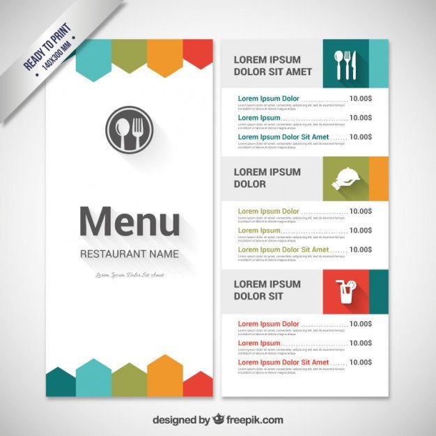 Menu Template Free Download Colorful Menu Template Vector
