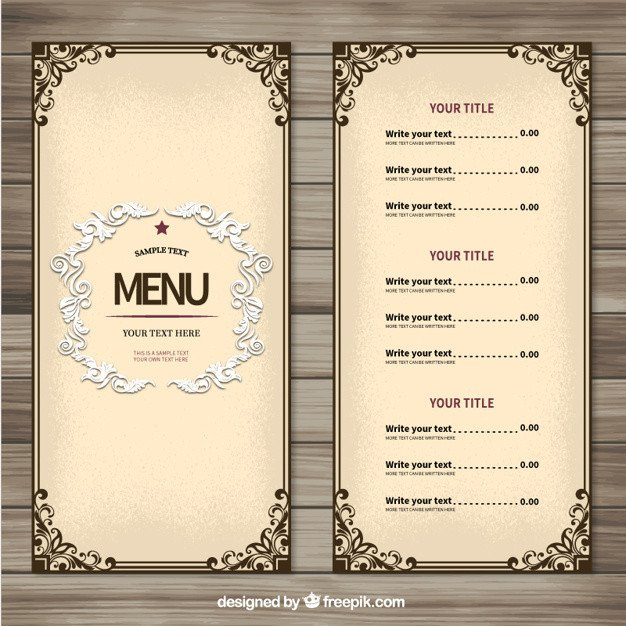 Menu Template Free Download ornamental Menu Template Vector