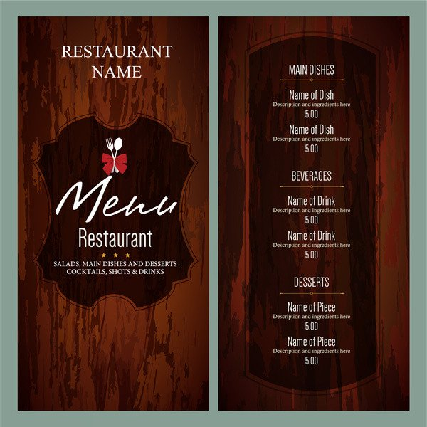 Menu Template Free Download Restaurant Menu Template Free Vector 14 655 Free