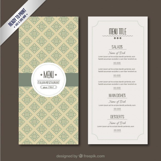Menu Template Free Download Retro Menu Template Vector