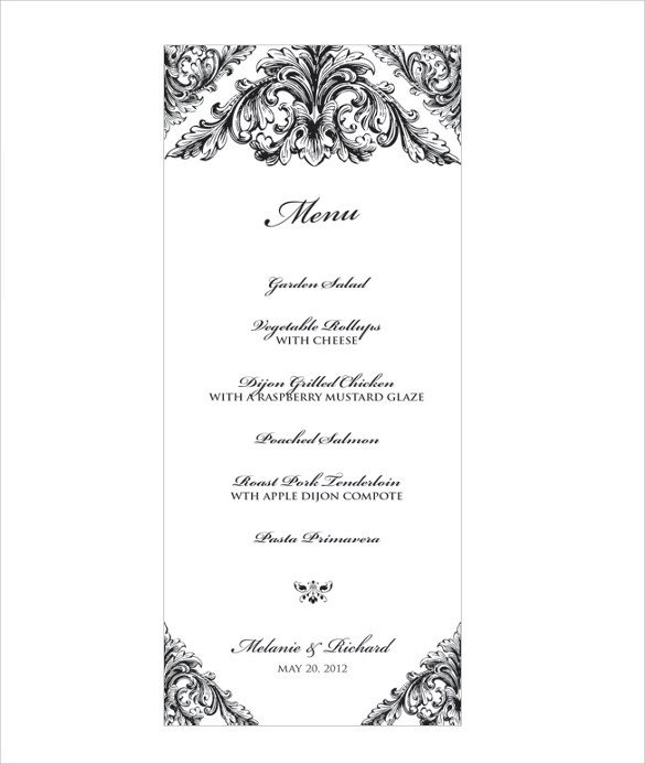 Menu Template Free Download Wedding Menu Template 31 Download In Pdf Psd Word