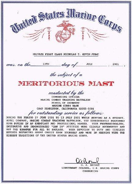 Meritorious Mast Example Meritorious Mast