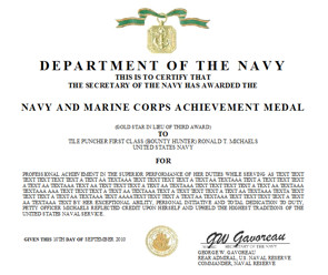 Meritorious Mast Example Navy and Marine Corps Achievement Medal Certificate