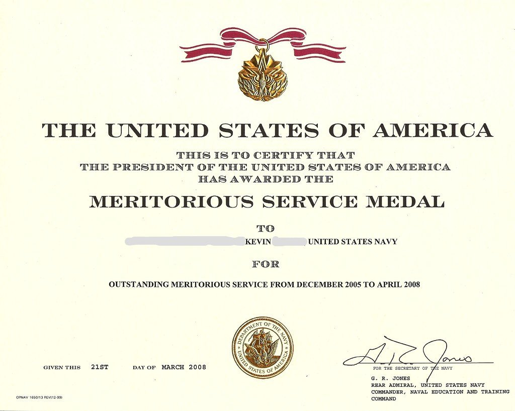 Meritorious Mast Example Us Navy Retirement 2008 Navy Meritorious Service Medal M