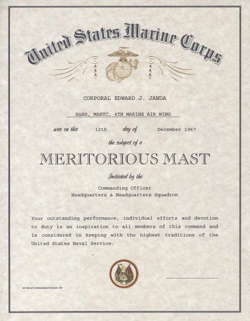 Meritorious Mast Example Usmc Meritorious Mast Certificate